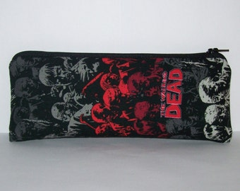 "Pipe Pouch, The Walking Dead, Glass Pipe Case, Pipe Bag, Padded Zipper Bag, Zombie Gift, Stoner, Undead, 420 Gift, Zipper Pouch - 7.5"" LARGE"