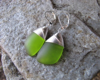 sea glass ear rings cultured seaglass mossy green colored beach glass jewelry  earrings-bridesmaid earrings- teardrop  earrings