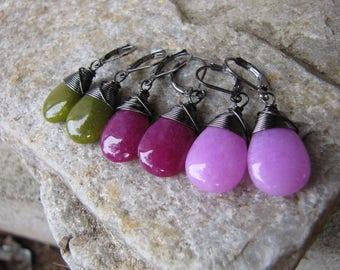 Jade earrings black wire wrapped fuschia pastel pink olive green lever back ear wires Candy Jade Jewelry simple teardrop