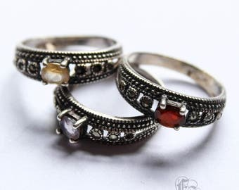 Vintage Sterling Silver Marcasite Stacking Ring Trio with Garnet, Citrine and Amethyst. Victorian Inspired 80s Vintage. US7 UK N