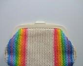 Vintage MCI Rainbow Clutch Handbag 1970s