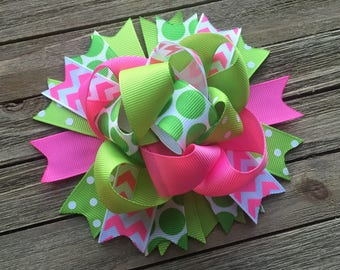 Pink and lime green hair bow , funky hair bow , birthday hair bow , 5 inch bow , chevron hair bow , pink and green bow