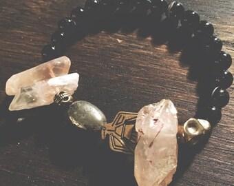 2 0 1 7 SALE // 50% OFF The Wanderer Bracelet // Black Agate + Dusty Peach Quartz // Jewelry // XS~S