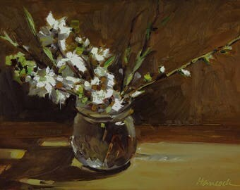 Plum Blossoms on Gold, Spring Bouquet, White Plum Blossoms in a Glass Jelly Jar
