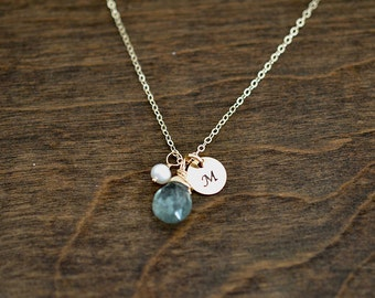 Aquamarine  Necklace, March Birthstone, Personalized Necklace, Moss Aquamarine, Flower Girl, Charm Necklace,Bridesmaid Gifts,