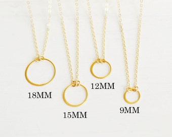 Eternity Circle Necklace, Karma Necklace, Delicate Circle Necklace, Gold Necklace, Silver Necklace, Bridesmaids Gift