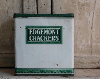 Vintage Cracker Tin Canister, Edgemont Crackers, Green and White Metal Box