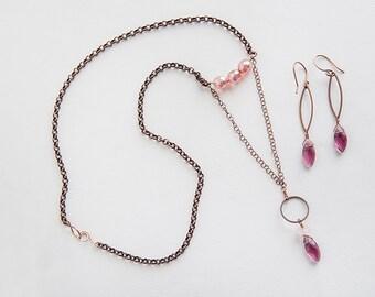 Pink Quartz Necklace, Mauve, Quartz Necklace, Pink Necklace, Copper Necklace, Copper Jewelry, Quartz Jewelry