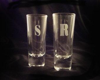 Custom Etched Monogrammed Shot Glasses - Set of 4 - Shooters - Etched Shot Glasses - Personalized Shooters - Wedding Party Gift