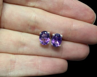 Amethyst & Sterling Silver Faceted Stud Earrings - 8x6