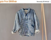 SALE Acid Wash Denim Faux Shearling Jacket Winter jacket Vintage 90's