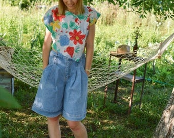 SALE High Waisted Denim Palazzo Shorts Vintage 80's
