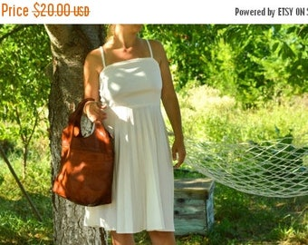 SALE White Nylon Summer dress VINTAGE 60's strappy dress