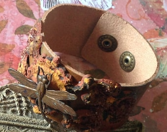 Rustic Copper Leather Cuff Dragonfly Rusted Look