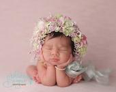 Flower bonnets, newborn bonnet, sitter bonnet, floral bonnet, flower hat