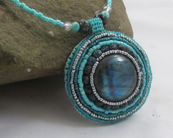 Labradorite Bead Embroidered Necklace