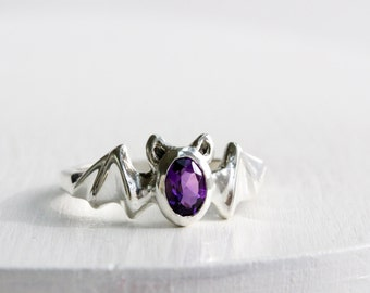 Bat Ring, Amethyst and Sterling Silver, Bat Fine Jewelry