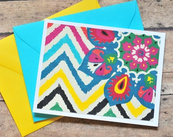 Bright and Colorful Note Cards // Set of 4 // Blank Cards // Thank You Cards // Just Because // Screen Printed // A2