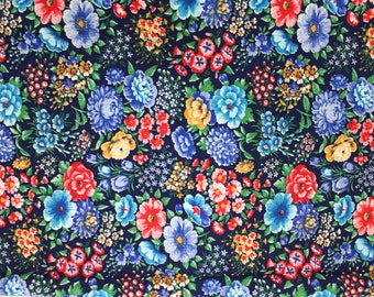 Vintage Blue Floral Fabric by Cranston Print Works . VIP Flower Fabric . thin woven cotton . wildflowers orchids roses tulips field spring