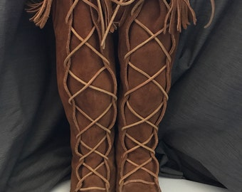 Ladies Vintage Knee High Minnetonka Leather Moccasins Fringe Boot Moccasins