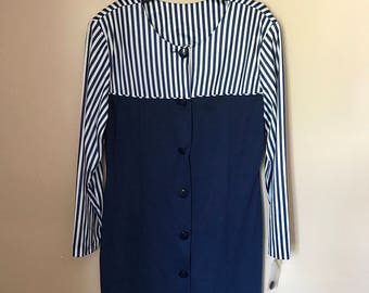 Blue and White Striped Button Front Nautical Dress 80s Plus Size Wiggle Dress Size 18