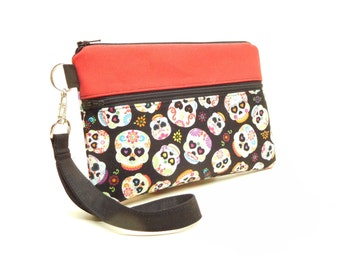 Day of the Dead iphone wallet, sugarskull iphone wristlet, skull clutch, mini purse, red black smartphone wristlet, skull smartphone wallet