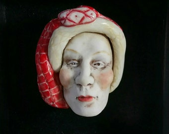 Porcelain Face in a Frame - Unique - Wall hanging