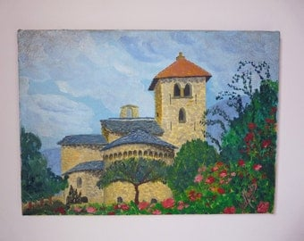 French Painting Basilica - French Church Vintage Painting a Little Church in France - oil painting on Canvas Signed by the Artist