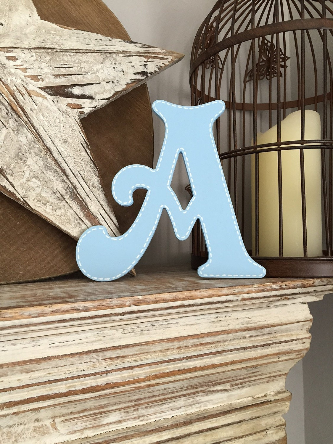 Victorian A with stitched edge - available as wall letter and standing letter