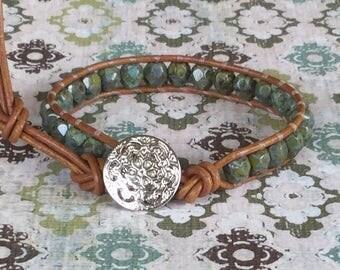 Layering Bracelet Single Wrap Bracelet Green Beaded Wrap Free Shipping Boho Casual