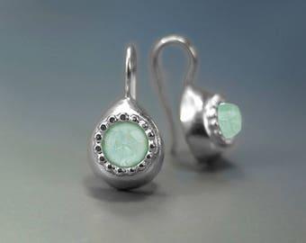 Aquamarine drop earrings, March birthstone earrings, Teardrop Earrings, women's jewelry, Blue Earrings, Silver Earrings, dangle earring