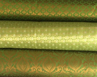 Bundle/Stack of lime green/Citrus green Indian brocade set of three fat quarters/perfect for crafting/sewing