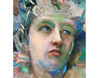 Original Oil Painting on paper Figure painting, Original Figure painting,  Portrait of a young woman, Blue Eyes 11 by 14 inches