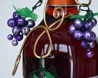 Grape Jingle bell Wine Bottle Decoration or Hostess Gift