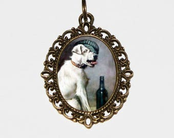 Dog Necklace, Wine Bottle, Animal Jewelry, Dogs, Wearing Hat, Bronze Oval Pendant, Father's Day, Gift For Dog Lover