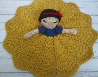 Crochet Princess Doll- Snow White Lovey Doll DouDou Toy Blanket RTS