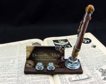 Steampunk Industrial Polymer Clay Business Card Holder with Pen Holder, Optional Steampunk Pen