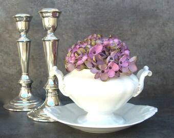 Rare Antique Villeroy & Boch Mettlach White Gravy Sauce Tureen Leaf Handles, Vintage White China Pottery Vase Planter, Cottage Decor
