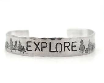 mens gift, mens jewelry, mens bracelet - inspirational bracelet - hand stamped jewelry - trees, mountians, outdoors, explore, boyfriend gift