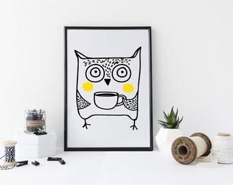 Owl Print - art print - print - scandinavian art - scandi, scandi print - ideal gift