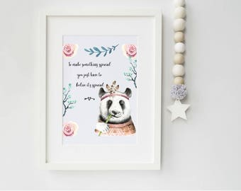Panda Girl Art Print, art print, panda print, ideal for panda lovers, nursery print