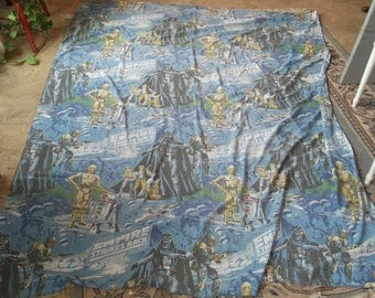 Vintage Star Wars Empire Strikes Back Twin Flat Sheet Darth Vader, Boba Fett, Han, Chewie, Leia, R2D2, C3P0 - Retro Fabric