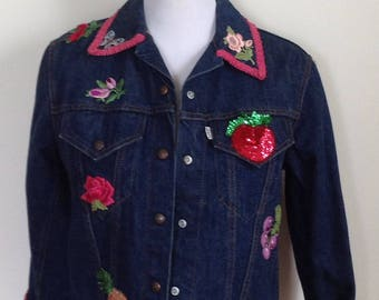 1970's Levi's jacket, denim appliqué jean jacket