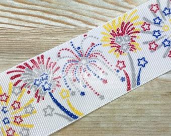 "Patriotic Ribbon, 1.5"", Glitter Ribbon, US Designer Ribbon, Fireworks Ribbon, July 4th Ribbon, 4th of July Ribbon, July 4th Hair Bow"