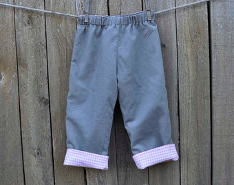 Grey and pink Corduroy Pants with Gingham lining, reversible pants, Brother sister matching,3m,6m,9m,12m,18m,2t,3t,4t,5,6,7,8