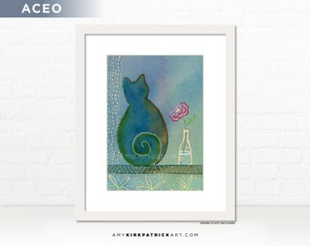 Cat in Window Painting, Original ACEO Cat Painting, Miniature Cat Art, Cat ATC Original, Blue Cat Painting, Blue Cat ACEO, Cat in the Window