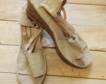 French 1970s Woman Wedge Platform Summer Sandals Shoes & Open Toe - Beige Canvas - MADE IN FRANCE - 6.5
