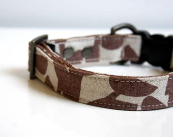 Leaves Cotton Linen Dog Collar - beige, brown - Antique Brass