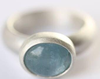 Aquamarine ring. Handmade aquamarine ring.