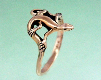 Lizard Ring 14k Gold Size 3 to 8